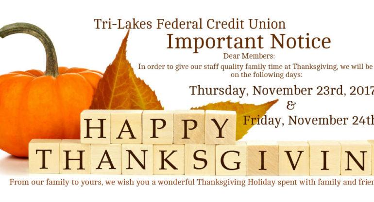 1 – Thanksgiving Closing